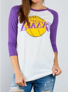 Junk Food Clothing - NBA Los Angeles Lakers Raglan - NBA - Collections - Womens