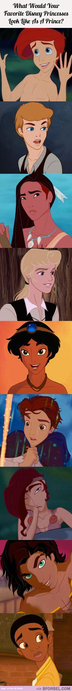 9 Disney Princesses If They Were Actually Princes…