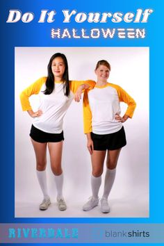 If you're a Riverdale fan, this is the perfect costume for you. These Betty and Veronica Cheer costumes only need: 1) The S3526 Baseball Jersey. 2) a pair of black shorts and knee-high socks! #blankshirts #ecommerce #onlineshop #bettyandveronica #riverdale #diyhalloween #halloweencostume #halloween #fabriccrafts Riverdale Halloween Costumes, Cheer Costumes, Betty And Veronica, Black Shorts, Halloween Diy, High Socks, Fabric Crafts, Ecommerce, Diy Projects