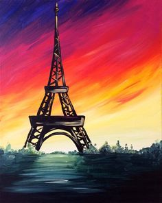 COLORFUL EIFFEL |  CANVAS PAINTING IDEAS | EASY CANVAS PAINTINGS | PAINTING IDEAS FOR BEGINNERS | 45 Easy Canvas Painting Ideas For Beginners