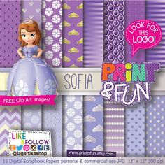 Sofia The first Digital Paper Background Clip art included crown princess pearly Purple ivory ombre chevron printables invitations scrapbook