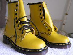 Yellow, boots, doc martens, dr martens