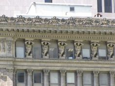"'Telamones' on the Park Building in Pittsburgh, PA - photo by J. Michael Krivyanski, via examiner;  ""Telamones are part of a classical European architectural design. The sculpted form is of a man ... placed on a column or pier. The term telamone is derived from the mythological hero Telamon, who was one of the Argonauts and the father of the Greek hero Ajax."""