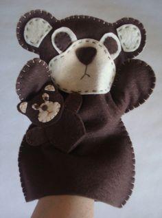 Handmade Felt Bear hand puppet and baby finger by ModernSimpleBaby, $16.00