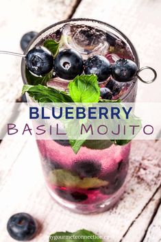 Made by muddling blueberries with fresh basil and mint, our Blueberry Basil Mojito is an easy and refreshing twist on the standard version of this popular cocktail. Basil Drinks, Basil Cocktail, Cocktail Drinks, Cocktail Recipes, Blackberry Wine, Strawberry Wine, Coffee Milkshake, Banana Milkshake, Popular Cocktails