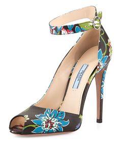 Prada floral print ankle strap pump