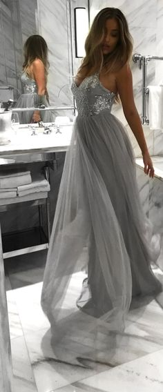 elegant grey tulle prom dress with sequins, fashion spaghetti strap gray party dress with sequins