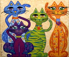 'High Street Cats' - their kind of posh! Lisa Frances Judd ~ Original Australian Art