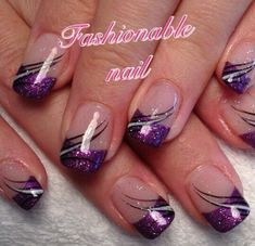 french nails with rhinestones Manicure Tips French Tip Nail Designs, French Nail Art, French Tip Nails, French Tips, Purple Nail Art, Purple Nail Designs, Cute Nail Designs, Purple Nails With Design, Fancy Nails