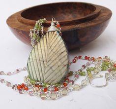 Labradorite pendant, carved pendant, gem necklace, multistrand necklace, double strand necklace, sterling silver by graciedot on Etsy