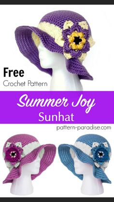Free crochet pattern for sunhat by Pattern-Paradise.com #sunhat #hat #beachhat #freepattern #freecrochet #patternparadisecrochet