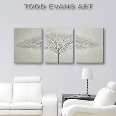 Grey Wall Art, 3 Piece Wall Art, Large Canvas Art, Tree Painting, Home Decor, 48x20 Grey Decor, Black and White, Trees, Original Paintings by ToddEvansArt