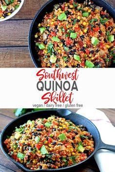 This southwest quinoa captures the flavors of Southwestern food by adding corn, tomatoes and avocado and leaving out the dairy. Veggie Recipes, Mexican Food Recipes, Whole Food Recipes, Vegetarian Recipes, Cooking Recipes, Vegetarian Quinoa Recipes, Healthy Vegan Snacks, Healthy Eating, Healthy Recipes