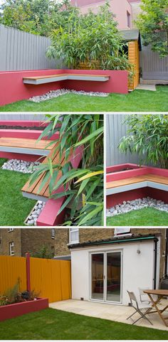 Studio Satta // London Garden Design a great way to utilize space in back corner and love the planter attached to bench