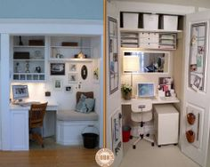 """Here are two great examples of how to convert a wardrobe/closet into a home office. These are just a couple of the MANY home office ideas you'll find on our """"Home Offices"""" album on our site at http://theownerbuildernetwork.co/ideas-for-your-rooms/home-office-and-study-gallery/home-offices/ What do you think of this idea?"""