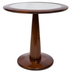L´Atelier Round Side Table in Brazilian Jacaranda Wood with Glass Top