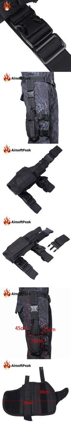 Outdoor Tactical Military Drop Leg Right Hand Bag Utility Waist Belt Thigh Pouch Bag Universal Paintball Pistol Holster Black