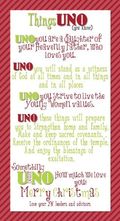 UNO game Christmas gift by   Young Women Inspiration