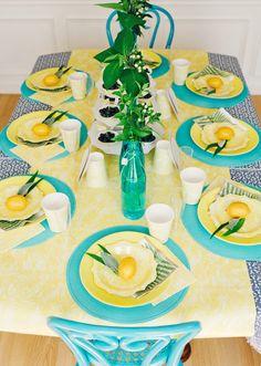 Summer Brunch Tablescape // Lemon & Leave centers // Turquoise Accents #LetsCelebrate