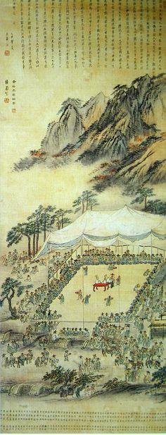 (Korea) 만월대 기로세연계회, 1804 by Danwon Kim Hong do (1745-1806?). color on silk.