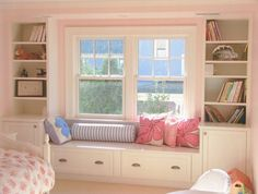 I want to add a cozy window seat and storage to our guest bedroom.