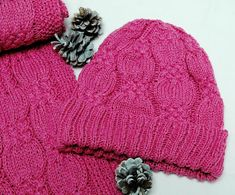 """Cashmere Scarf & Hat Set """"Flores Island"""", hand knit in pure cashmere in cable stitch pattern - READY TO SHIP Dark Winter, Scarf Hat, Cashmere Scarf, Warm Colors, Mittens, Knits, Hand Knitting, Stitch Patterns, Cable"""