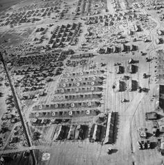 <strong>Caption from LIFE.</strong> Aerial view of beachhead hospital. It has been shelled, bombed, strafed by Germans.