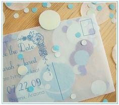 See-thru confetti postcard invites