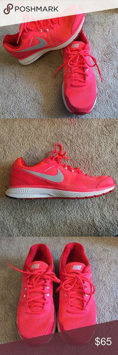 Nike Zoom Winflo Bright pink Nikes with white sole and silver swoosh. Worn once, in amazing condition! Size 10. Nike Shoes Athletic Shoes