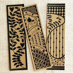 #Zentangle Inspired ~ Tangled bookmarks - I like these organic designs