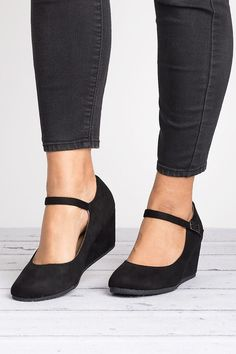 winter shoes you must have footwear collection 11 Black Wedge Shoes, Wedge Boots, Shoe Boots, Wedge Pump, Ankle Strap Heels, Ankle Straps, Suede Heels, Cute Shoes, Me Too Shoes
