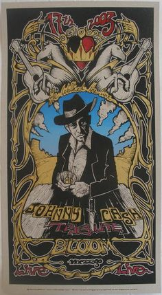 2003 Johnny Cash Tribute - Silkscreen Concert Poster by Malleus