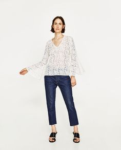 ZARA - WOMAN - LACE BLOUSE WITH BELL SLEEVES