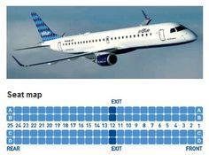 jetblue airways embraer erj-190 jet aircraft seating layout map