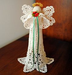 Crochet Christmas angel tree topper ecru with a gold by Draiguna