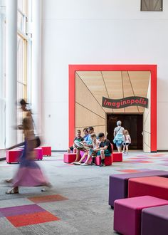 SoundPly's wood acoustic panels in the Minnesota Children's Museum. Architect: MSR Design SoundPly by Navy Island Inc. #mnchildrensmuseum #powerofplay #SoundPly Wood Ceiling Panels, Acoustic Ceiling Panels, Michael Goldberg, Air Force Academy, Clark Art, Sound Absorption, Children's Museum, Energy Use, Education Center