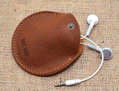 Personalized Headphone leather case /Mini от BlackBrierLeather