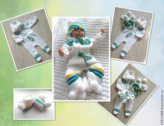 Купить Комплект Веселая полоска1 - разноцветный, в полоску, для новорожденного, для новорожденных, одежда для новорожденных, косы, комбинезон