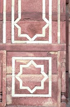 Image IND 0217 featuring decorated area from the Humayun's Tomb, in Delhi, India, showing Geometric Pattern using stone inlay or mosaic.