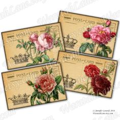Printable Postcards Shabby Roses Pierre Joseph Redoute by WaratahLane Chic roses on  shabby postcards For scrapbooking, paper and card making Use for labels and tags on gifts and wedding decor