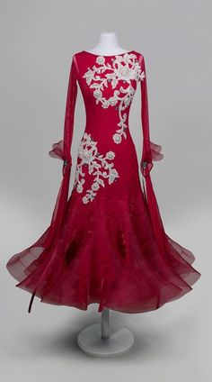 Winter-cherry ballroom dance dress #danceoutfits
