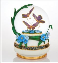 Snow Globe - butterflies and forget-me-nots