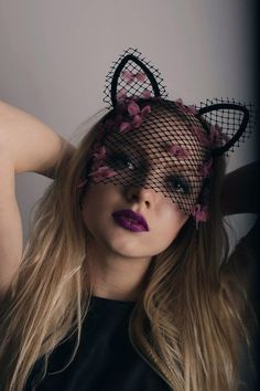 NEW Exclusive haute couture handmade black fishnet lace cat mask with ears, veil…   -  #hautecouture #hautecoutureGivenchy #hautecouturePants #hautecouturePerles