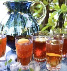 Cranberry and cinnamon iced tea with pops of blueberries mint and lemon makes a refreshing antioxidant rich summer cooler. Rooibos Iced Tea Recipe, Iced Tea Recipes, Drink Recipes, Bulgar Wheat Salad, Middle Eastern Salads, Healthy Drinks, Healthy Recipes, Healthy Family Meals, Stuffed Sweet Peppers