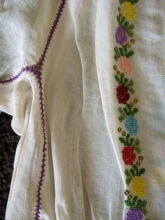 romanian blouse detail by jodigreen, via Flickr Embroidery Motifs, Diy Embroidery, Embroidery Designs, Gold Chevron, Satin Stitch, Embroidery Techniques, Sheer Fabrics, Blouse, Sewing