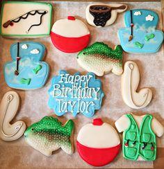 Fishing cookies using glaze icing Fish Cookies, Fancy Cookies, Cute Cookies, How To Make Cookies, Cupcake Cookies, Sugar Cookie Royal Icing, Iced Sugar Cookies, Cookie Icing, Fishing Cupcakes