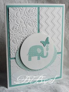 Patterned Occasions _Baby Butterly  pool party ink and paper. stamp is embossed with pool party baby card - embossing folder strips whisper white