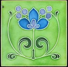Art nouveau design in bright majolica glaze in a super color combination from Wooliscroft.