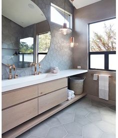 This is a killer bathroom design with countersink. - - This is a killer bathroom design with countersink. This is a killer bathroom design with countersink. We spy… Modern Bathroom Cabinets, Bathroom Renos, Diy Bathroom Decor, Bathroom Interior Design, Bathroom Renovations, Bathroom Furniture, Interior Design Living Room, Bathroom Ideas, Bathroom Inspo