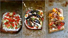 Open Sandwiches three ways, using the best of summer produce - Tomatoes. Spicy Pepper & Sriracha or caramelized onions bruschetta or fresh and healthy cucumber and sprouts. What would be your favorite?